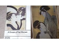 Two vintage posters of Japanese exhibits at Birmingham museum and the British museum