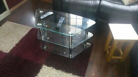 TV STAND. 3 GLASS SHELVES EXCELLENT CONDITION HEIGHT 17INCHES/ SHELVES 31 X 19 INCHES