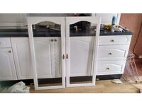 Double wooden doors with glass panel. Wanting £25 ono