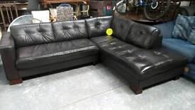 Very dark brown real leather corner sofa ..nice..