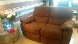 2 brown 2 seater sofas