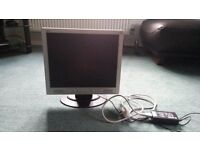 """Acer AL1714 LCD 17"""" computer monitor and cables"""