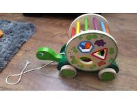 Pull Along Tortoise Real Wooden Toys Turtle Educational Toy Shapes