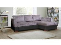 💗💓SALE START NOW💗💓MADEIRA FABRIC CORNER SOFA BED WITH STORAGE - BLACK GREY BROWN SOFABED