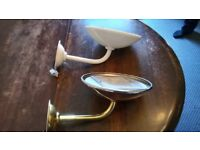 wall light fittings - cream and silver/brass