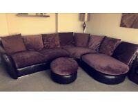 Corner Sofa with Cuddler Armchair & Footstool
