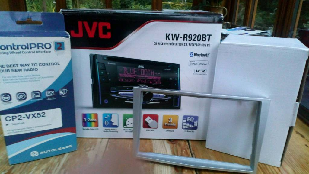 Jvc radio with cage, wiring loom, steering wheel control harness ...