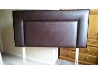 Faux brown leather headboard