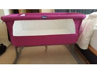 Chicco Next2me cot. Fuchsia pink, with carry bag and two sheets. From pet and smoke free home.