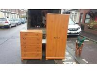 Pine wood wardrobe with metal handles £80,matching chest of drawers £40