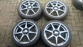 NEW 17 MULTISPOKE TMW ALLOY WHEELS 4 + 5 X 100 VW GOLF MK4 VAUXHALL SEAT IBIZA TOYOTA CELIC