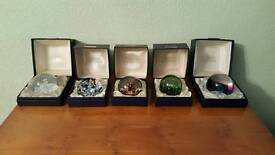 Set of 5 Vintage Caithness Glass Paperweights