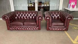 Stunning as new leather chesterfield sofa suite 2 seater and matching club chair £700