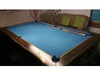 antique pool table very nice condition blue cloth walnut sides cast iron legs
