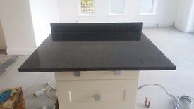 Granite (black) work top with granite upstand 85cms wide X 79cms deep