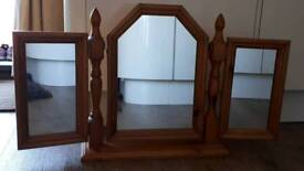 Folding vanity table mirror