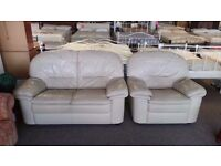 GOOD CONDITION!!! Cream leather suite 2 seater sofa/ settee and 1 chair, extremely comfortable