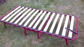 Single Folding Bed with Sprung Slatted Base and mattress