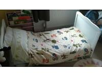 White Cot bed with changer top