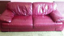 RED LEATHER SOFA (or pair of sofas)