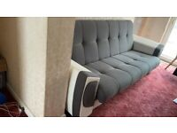 Sofa Bed with Storage Container Fabric Faux Leather