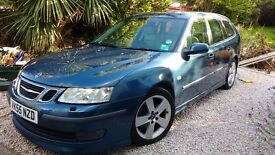 Saab 9-3 Auto 2.8 V6 Aero Sedan, Blue, 123000, sunroof, sat Nov, cream leather. Good condition