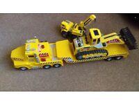 tonka lorry trailer & digger & crane