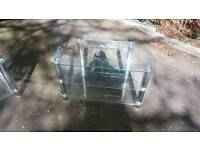 Clear glass tv unit with chrome legs