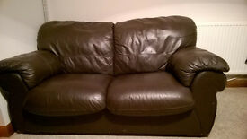 100% Brown Leather 2 Seater and 3 Seater Sofas