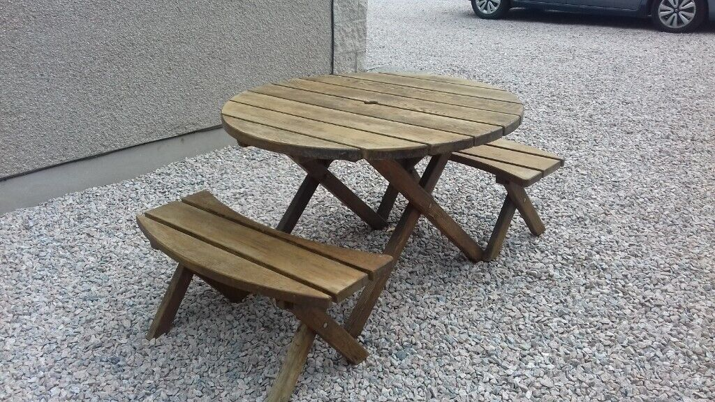 Small Wooden Garden Table Bench Set Can Deliver In