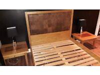 Oak & Leather double bed, Oak side tables bought from Sterling