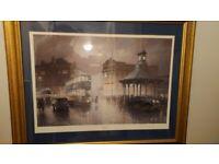 SATURDAY NIGHT BY DON BRECKON, LARGE FRAMED PRINT OF BRIDGETON CROSS, GLASGOW IN THE 1950S