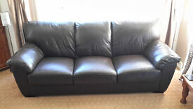 2 X 3 Seater Brown Leather Sofas. Excellent condition