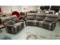 NEW ScS Ralph Grey 4 Seater Curved Recliner & 2 Seater Recliner Sofas CAN/DEL View Collect NG177