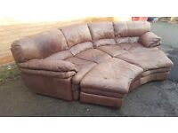 Cute brown tan leather large curved corner sofa and 2 footstools,or use as a sofa bed,can deliver