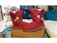 Womens UGG bailey button genuine red maroon boots size 6.5