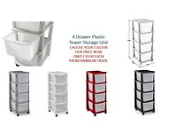 4 Drawer Plastic Tower Storage Unit £10 each Available Colour (Black-silver- red- white)