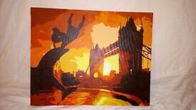 'London sunset' acrylic painting on canvas