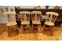 superb set of 4 matching antique Elm / Beech kitchen chairs