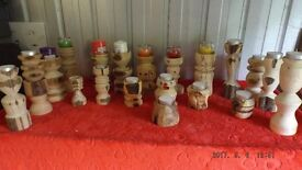 A quality Job Lot of Hand Turned Solid Wood Candle stands.