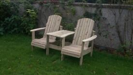 Jack and Jill seat Love Seat Twin seat Garden Summer seat furniture set Loughview Joinery LTD