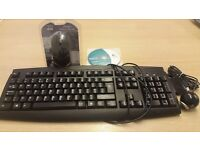Computer Keyboard, Mouse and Logitech webcam with Disc