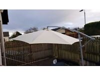 Cream Blooma 3.5m Overhanging Garden Parasol and base