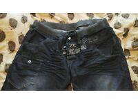 2 pairs mens enzo jeans cuffed leg 48w 32l