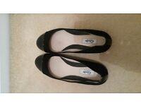 NEW Clarks Narative Black Flat Shoes UK 6