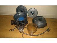 trakker armo power stove, armo-lite kettle and 3 pan set