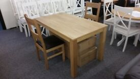 Brand New Solid Oak Dining Table & 6 Oak Ladderback Dining Chairs **CAN DELIVER**