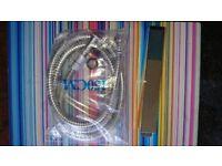 Shower hose and square head-chrome effect