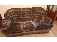 3 seat sofa + 2 armchairs and footstool
