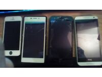 4 mobile phones with problems all switch on